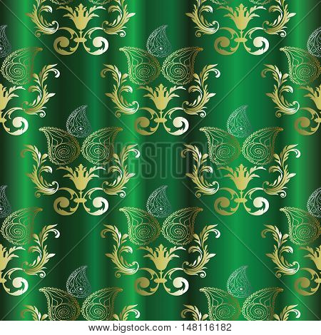 Royal luxury Baroque damask green paisley antique vintage floral vector seamless pattern, background illustration with medieval antique gold 3d baroque vintage Paisley flowers ornaments