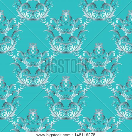 Baroque damask medieval floral vector seamless pattern  illustration with vintage antique decorative baroque flowers leaves ornaments with shadow,highlight on the light turquoise background