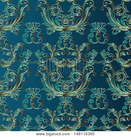 Baroque damask medieval floral vector seamless pattern  illustration with vintage antique decorative baroque 3d flowers leaves ornaments with shadow,highlight on the dark turquoise background