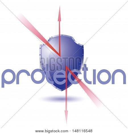 Vector illustration of the storage of your information .   Shield reflects the danger on a white background