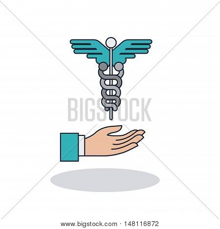 Caduceus and hand icon. Medical and health care theme. Colorful design. Vector illustration