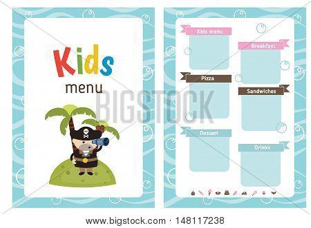 Kids menu card with cute cartoon pirate. Cute colorful kids meal restaurant menu vector template.