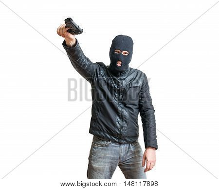 Robber Or Thief Aiming With Pistol. Isolated On White Background