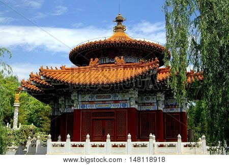 Kunming China - April 25 2006: Temple of Heaven replica in the Beijing Universal Spring Garden at the World Horti-Expo GardenE Exhibition Park