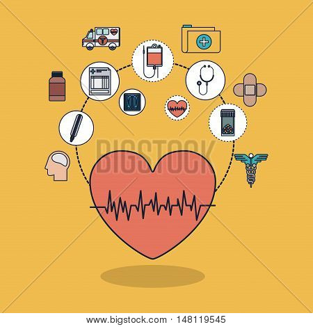 Heart with pulse and icon set. Medical and health care theme. Colorful design. Vector illustration