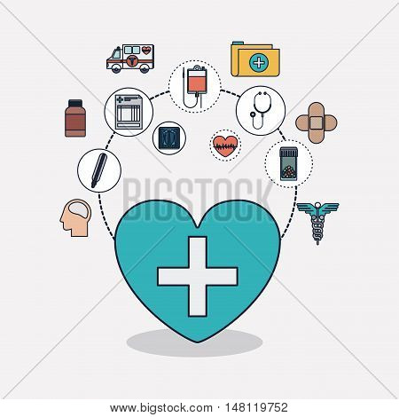 Heart with cross shape and icon set. Medical and health care theme. Colorful design. Vector illustration