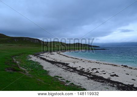 White coral beach along the west coast of the Isle of Skye.