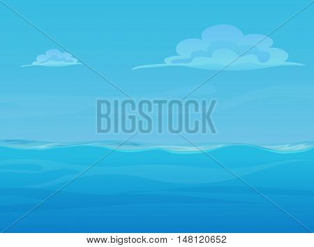 Water ocean sea landscape with sky and clouds. Vector game style illustration. Background for games