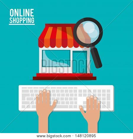 Keyboard store and lupe icon. Shopping online ecommerce and media theme. Colorful design. Vector illustration