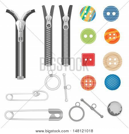 Steel metal zipper and sewing tools accessories collection. Realistic buttons and zippers set