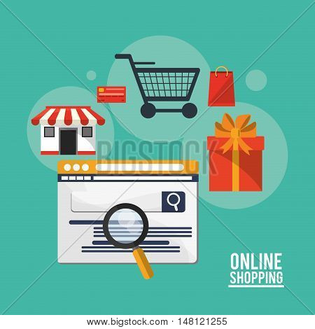 Website store cart lupe and gift icon. Shopping online ecommerce and media theme. Colorful design. Vector illustration