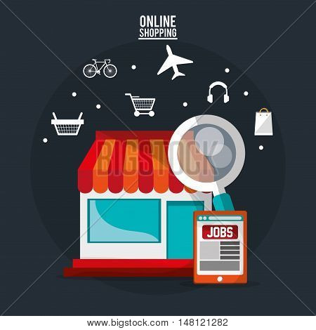Store lupe and icon set. Shopping online ecommerce and media theme. Colorful design. Vector illustration