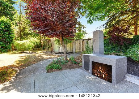 Backyard House Exterior With Blue Brick Fireplace And Well Kept Garden