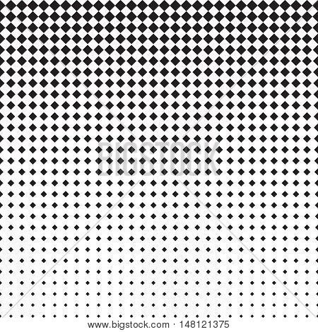 Rhomb halftone pattern with gradient effect. Rhombuses in black and white. Template for backgrounds and stylized textures. Horizontally seamless. Vector eps8 design element.
