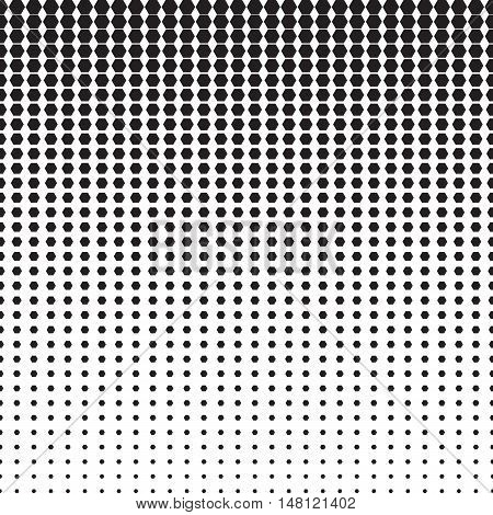 Hexagon halftone pattern with gradient effect. Hexagons in black and white. Template for backgrounds and stylized textures. Horizontally seamless. Vector eps8 design element.