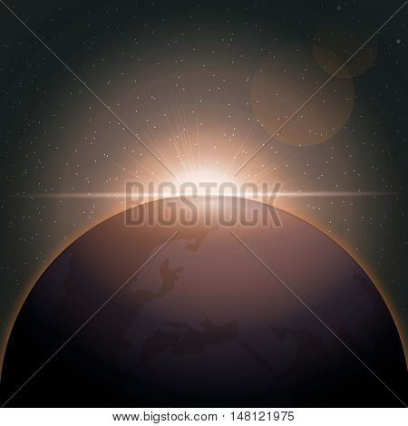 Digital vector planet earth icon with orange sun eclipse, over stelar background, flat style.