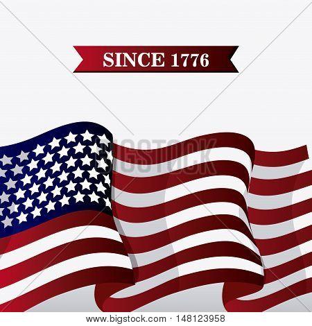united states of america flag. usa landmark and patriotic icon. Colorful design. Vector illustration