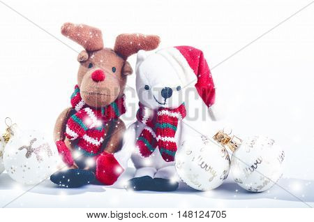 Snowman, reindeer and christmas decorations. Happy christmas concept. Stuffed toys