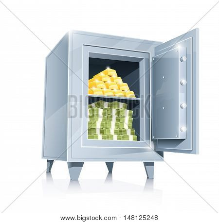 Open metallic safe with gold and money vector illustration isolated on white background. Transparent objects opacity masks used for shadows lights drawing