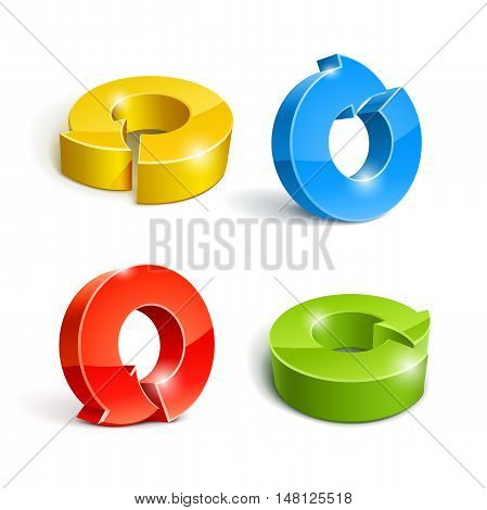 Set of icon pointer arrow 3d vector illustration isolated on white background. Transparent objects and opacity masks used for shadows lights drawing