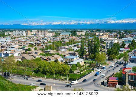 Aerial skyline of Gori city. Georgian Republic