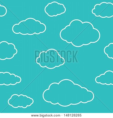Clouds seamless pattern. Vivid greenish blue continuous background with white thin line sky cloudlets. Simple vector repeating texture in eps8 format.