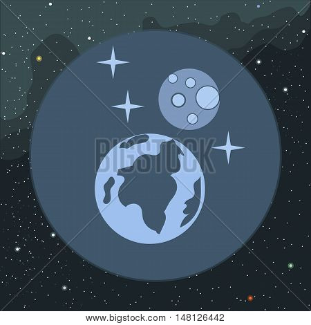 Digital vector planet earth icon with stars and moon, over stelar background, flat style.