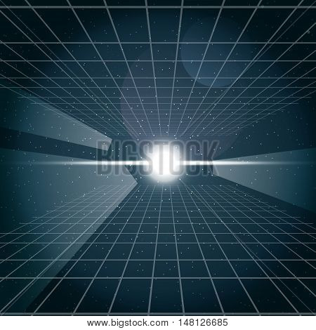 Digital vector cosmic white light and a grid in space, over stelar background, flat style.