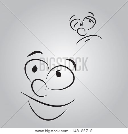 Cartoon face happy and unhappy emotions set