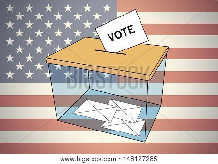 America elections for president. Transparent ballot box with some votes into envelopes over an american flag. Vector illustration
