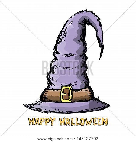 witch hat isolated on white. vector halloween doodle art violet wizard hat
