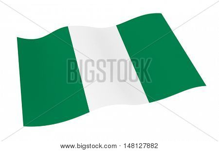 Nigeria flag isolated on white background from world flags set. 3D illustration.