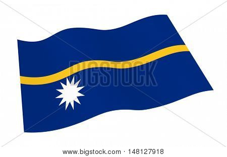 Nauru flag isolated on white background from world flags set. 3D illustration.