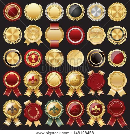 Set of Certificate Wax Seal and Badges.