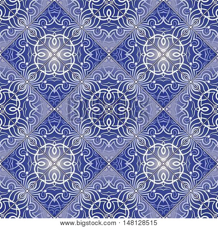 White Pattern On Blue Background