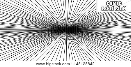 Comic book explosion in black and white colors. Black hole template. Pop-art style. Blast background
