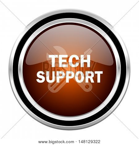 technical support round circle glossy metallic chrome web icon isolated on white background