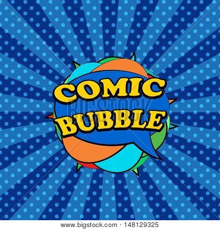 Comic bubbles in the form of clew. Pop-art style. Vector illustration with set of clouds and radial background with dotted surface