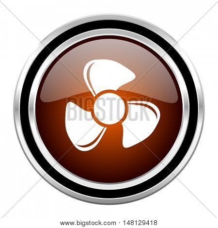 fan round circle glossy metallic chrome web icon isolated on white background