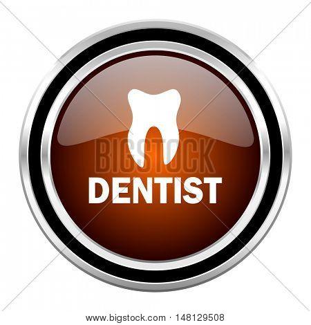 dentist round circle glossy metallic chrome web icon isolated on white background