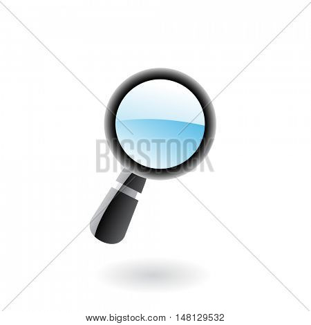 3d glossy magnifier isolated on white