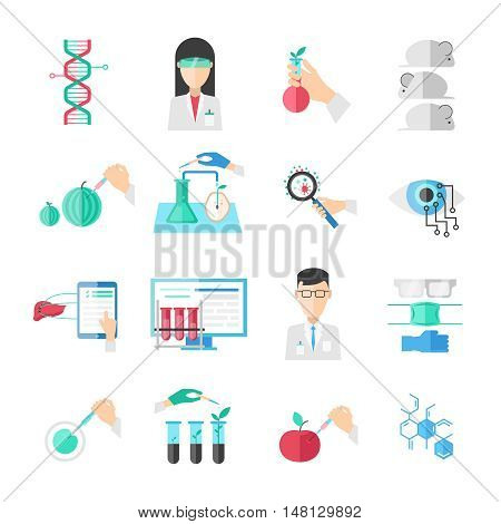 Biotechnology flat icons set with scientists chemical agricultural injections computer and professional equipment isolated vector illustration