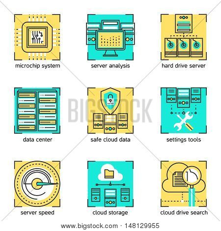 Datacenter linear concept with server settings and cloud service hardware and microchip system isolated vector illustration