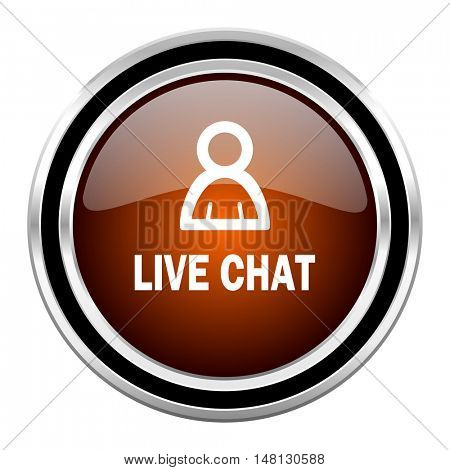 live chat round circle glossy metallic chrome web icon isolated on white background