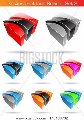 illustration of 3d Abstract Icon Series - Set 3