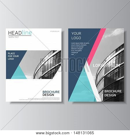 Blue Brochure Design, Annual Report Cover. Leaflet Template. Fly