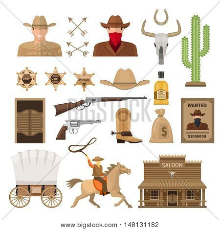Wild west decorative elements set with sheriff and bandit cowboy accessories wagon and rider isolated vector illustration