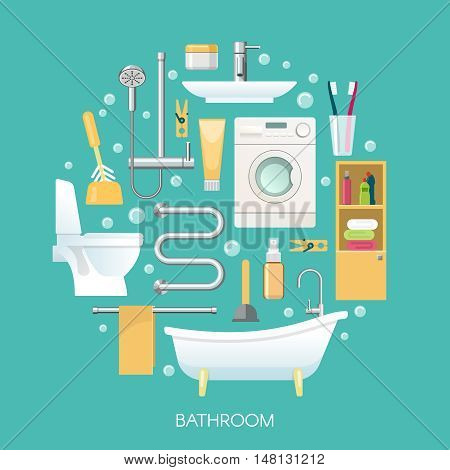 Bathroom round composition including sanitary equipment laundry machine cosmetics and toothbrushes on blue background vector illustration
