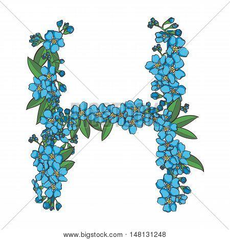 Forget me not vector alphabet. Letter H