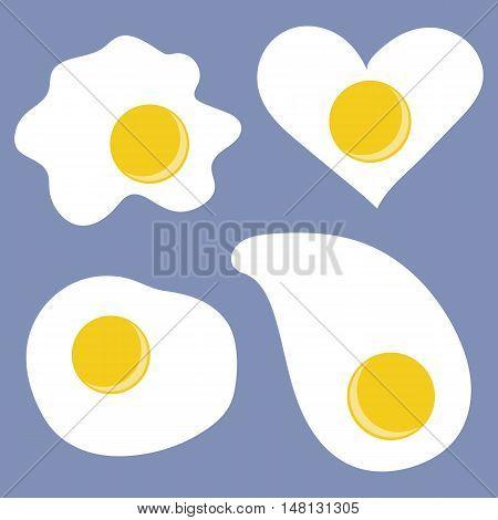 Fried egg icons. World egg day. Vector illustration.